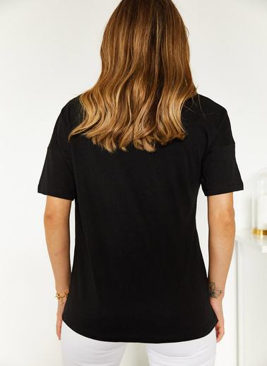 XHAN Siyah Kaplan Baskılı Tişört 0Yxk1-43915-02 Siyah
